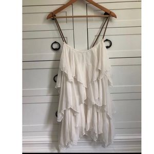 Free People Off White Ruffle Top